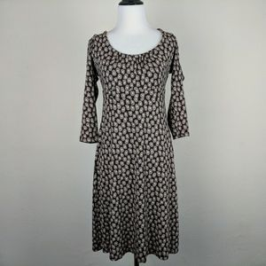 Boden Brown Circle Dot Print Scoop Neck Dress